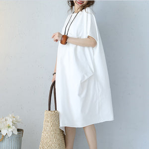 baggy white natural cotton dress oversized cotton clothing dress casual short sleeve o neck cotton dresses