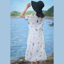 Load image into Gallery viewer, baggy white print natural silk linen dress oversize o neck baggy dresses silk linen gown 2018 short sleeve pockets dresses
