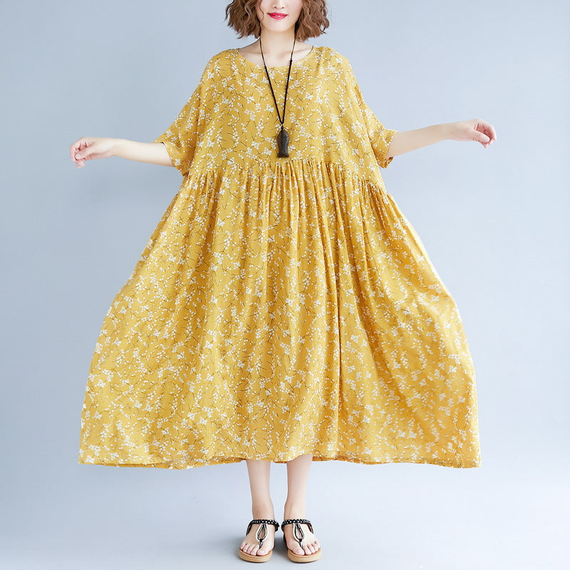 baggy yellow cotton linen dresses plus size print short sleeve long dresses  top quality o neck baggy dresses linen clothing dress
