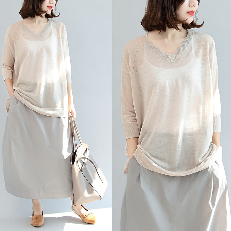 beige stylish linen blouse oversize tops long sleeve t shirt