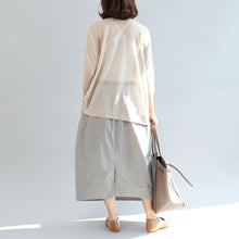 Load image into Gallery viewer, beige stylish linen blouse oversize tops long sleeve t shirt
