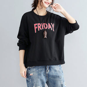 black alphabet  print cotton pullover plus size fashion thick batwing sleeve tops