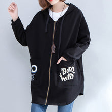 Load image into Gallery viewer, black autumn hooded cotton coats plus size casual zippered casaul cardigans outwear