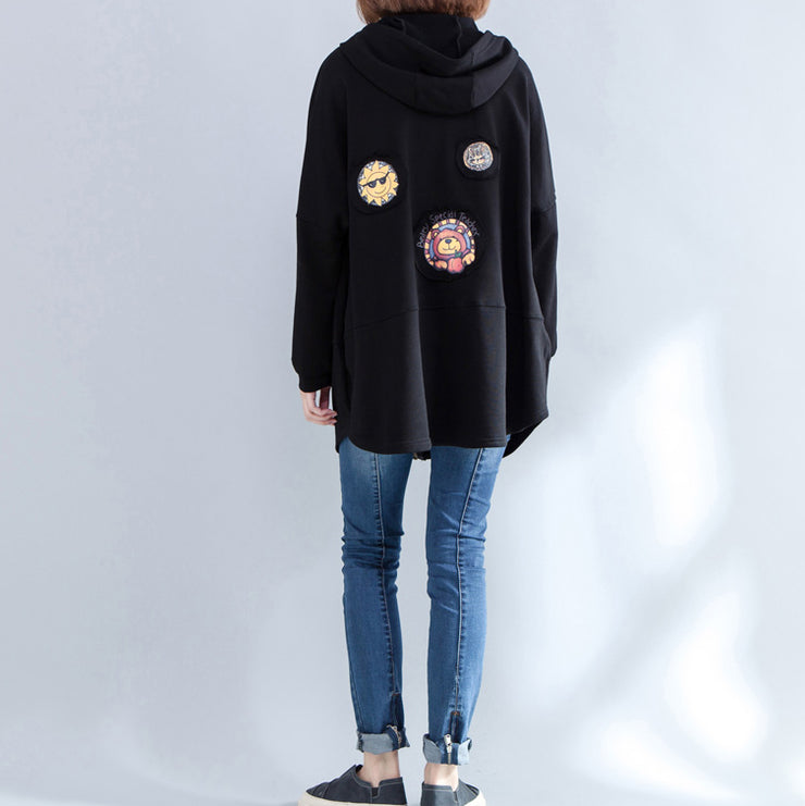 black autumn hooded cotton coats plus size casual zippered casaul cardigans outwear