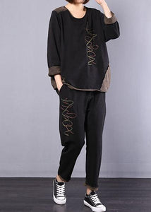 black autumn vintage patchwork tops and casual harem pants two pieces