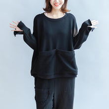 Load image into Gallery viewer, black big pockets two pieces knit tops with sweaters pant oversize casual sport suit