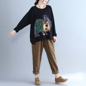 black cartoon decorated casual t shirt plus size long sleeve pullover