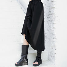 Load image into Gallery viewer, black casual cotton blended skirts loose one side drawstring elastic waist aline skirts