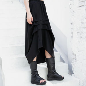 black casual cotton blended skirts loose one side drawstring elastic waist aline skirts