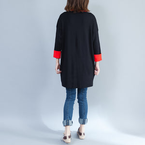 black casual cotton sweater tops oversize long sleeve pullover