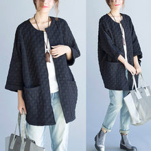Load image into Gallery viewer, black casual fashion cotton cardigan plus size bracelet sleeved cardigan outwear