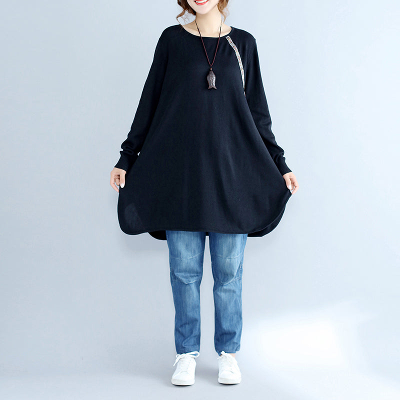 black casual plus size knit sweater dresses plus size long sleeve knit dress