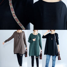 Load image into Gallery viewer, black casual plus size knit sweater dresses plus size long sleeve knit dress