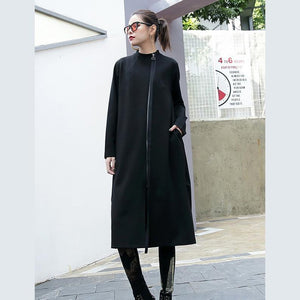 black cotton Coats plus size stand collar long coat Elegant zippered Coat