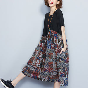 black cotton shift dress oversized cotton maxi dress vintage prints patchwork short sleeve natural dress