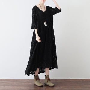 black cross neck lace dresses plus size lace caftans tunic high waist design