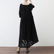 Load image into Gallery viewer, black cross neck lace dresses plus size lace caftans tunic high waist design
