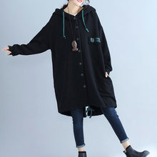 Load image into Gallery viewer, black fashion back prints cotton trench coats plus size hooded winter outfits