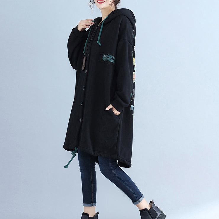 black fashion back prints cotton trench coats plus size hooded winter outfits