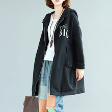 Load image into Gallery viewer, black fashion casual cotton prints coats oversize zippered long sleeve trench coat hooded winter outfits