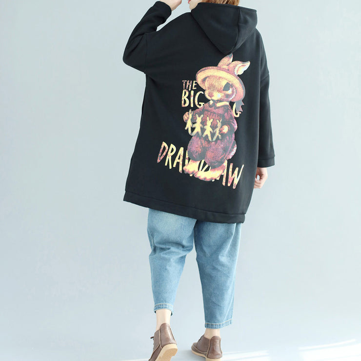 black fashion casual cotton prints coats oversize zippered long sleeve trench coat hooded winter outfits
