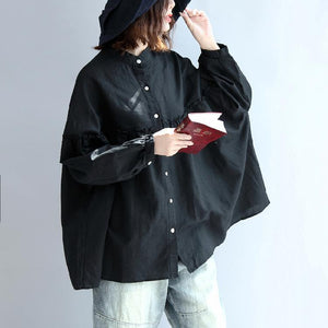 black long sleeved cotton blouses oversize cozy cotton tops shirts