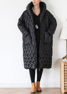 black loose large size hooded long padded jacket cotton thick coat