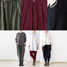 Afbeelding in Gallery-weergave laden, black oversized linen carrot pants plus size cotton pants loose harem pants