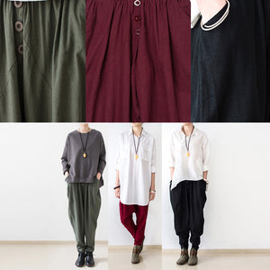 black oversized linen carrot pants plus size cotton pants loose harem pants