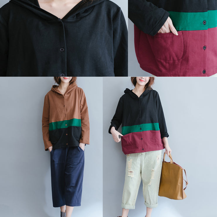 black patchwork chunky cotton coats plus size casual hooded outwear
