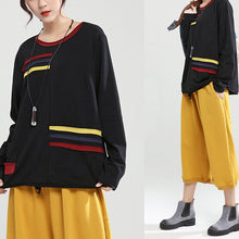 Load image into Gallery viewer, black patchwork oversize cotton pullover casual fashion tops