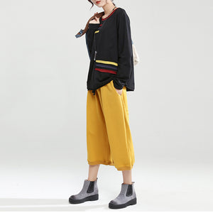 black patchwork oversize cotton pullover casual fashion tops