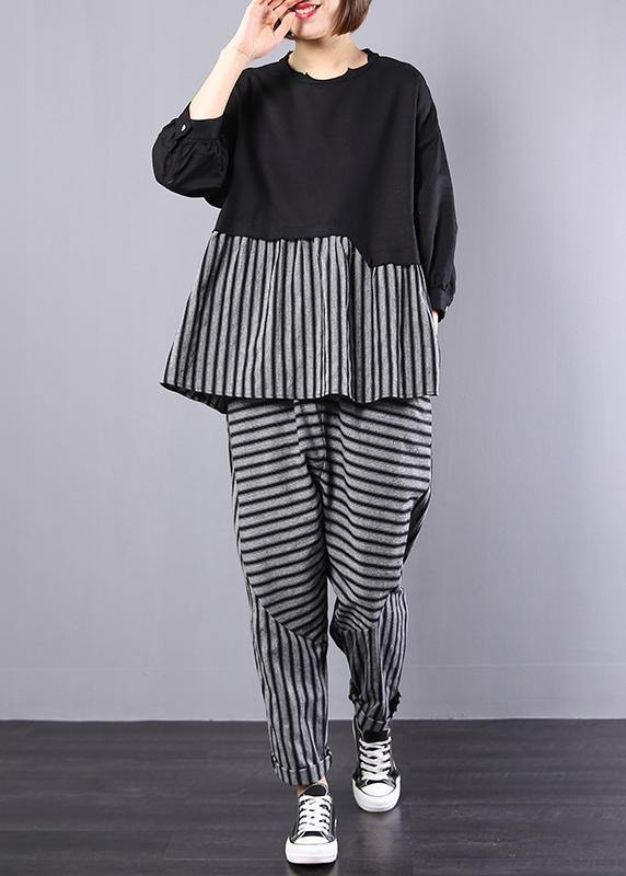 black patchwork striped two pieces cotton linen tops and striped harem pants