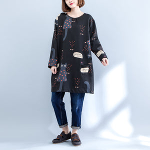 black plus size cartoon prints cotton cardigans long sleeve o neck coat autumn