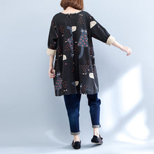 Load image into Gallery viewer, black plus size cartoon prints cotton cardigans long sleeve o neck coat autumn