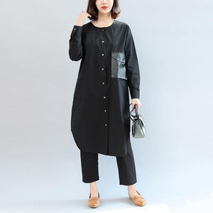 black pockets patchwork cotton blouse oversize o neck shirt dress