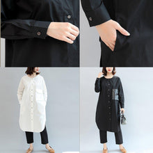 Load image into Gallery viewer, black pockets patchwork cotton blouse oversize o neck shirt dress