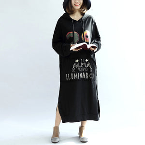 black print casual cotton dresses plus size hooded thick side open dress