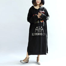 Load image into Gallery viewer, black print casual cotton dresses plus size hooded thick side open dress