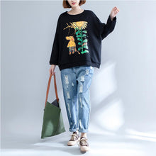 Load image into Gallery viewer, black print casual cotton o neck t shirt plus size long sleeve blouse
