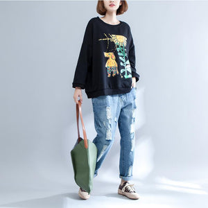 black print casual cotton o neck t shirt plus size long sleeve blouse