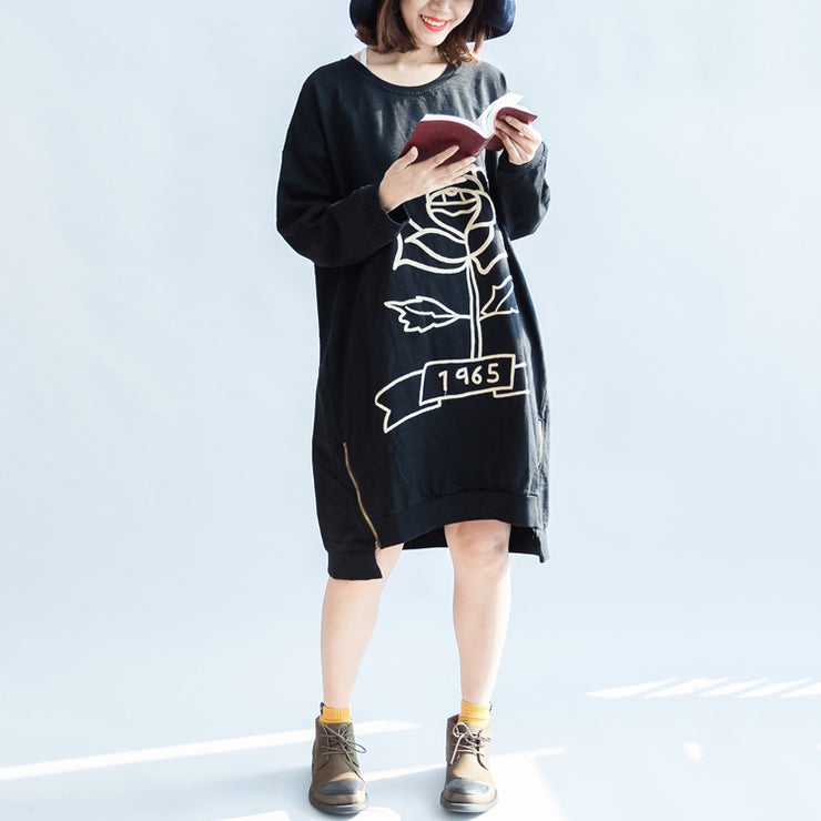 black rose print cotton dresses oversized spring pullover dress