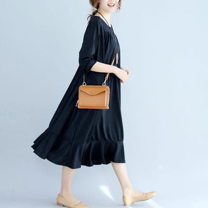 black ruffles casual cotton dresses oversize long sleeve maternity dress