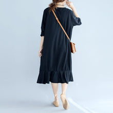 Load image into Gallery viewer, black ruffles casual cotton dresses oversize long sleeve maternity dress