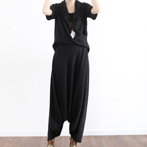 black silk cross design silk tops shirts with harem pants two pieces