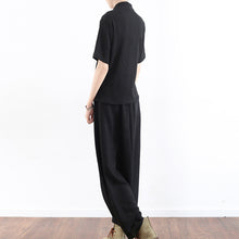Load image into Gallery viewer, black silk cross design silk tops shirts with harem pants two pieces
