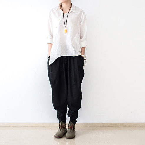 black stylish linen pants casual cotton pants loose bottoms original design