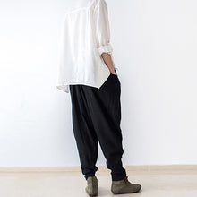Load image into Gallery viewer, black stylish linen pants casual cotton pants loose bottoms original design