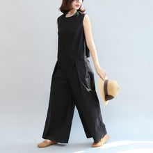 Load image into Gallery viewer, black stylish linen pants casual slim sleeveless tops and loose jumpsuit pants