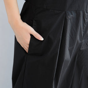 black stylish linen pants casual slim sleeveless tops and loose jumpsuit pants